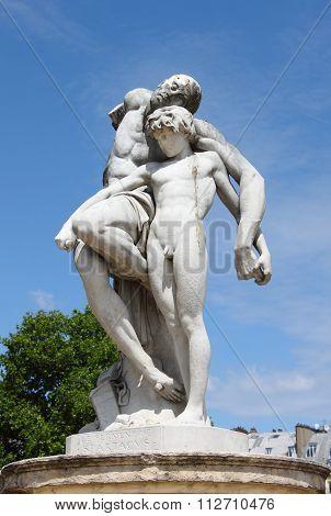Spartacus statue in Tuileries Gardens of Paris