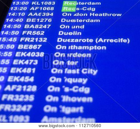 Airport Departures Arrivals Board