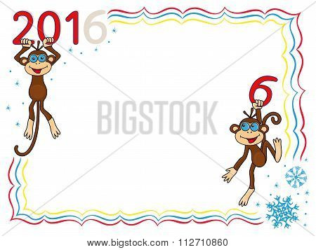 Greeting Card With Two Amusing Monkeys