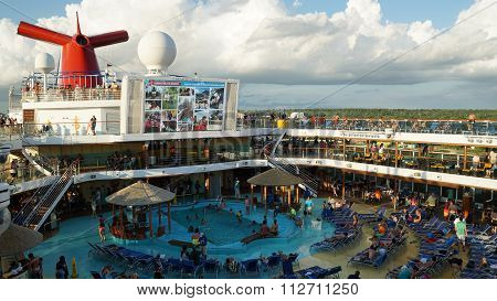 Poolside on the Carnival Breeze docked in Miami, Florida
