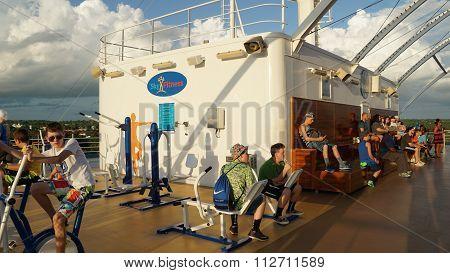 LA ROMANA, DOMINICAN REPUBLIC - NOV 24: Carnival Breeze sailing away from La Romana, Dominican Republic, as seen on Nov 24, 2015. It is a Dream-class cruise ship which entered service on June 3, 2012.