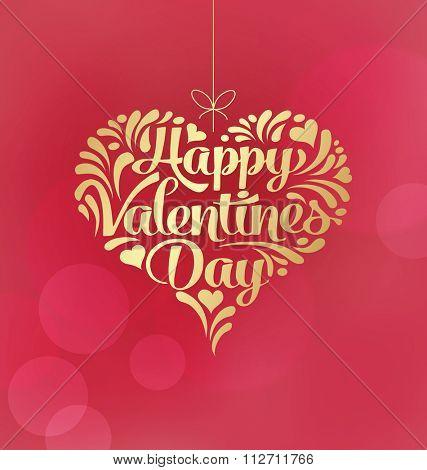 Happy Valentine's Day card design. Decorative hanging heart.