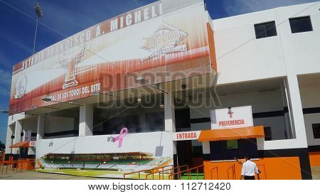 LA ROMANA, DOMINICAN REPUBLIC - NOV 24: Francisco A. Micheli stadium in La Romana, Dominican Republic, as seen on Nov 24, 2015. It is the home of the Dominican professional team, the Toros del Este.