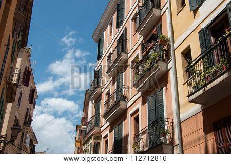 Building In Old Town Palma De Mallorca, Majorca, Spain