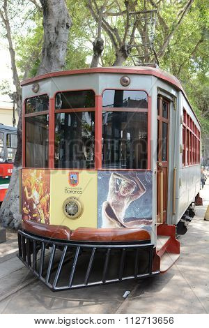 BARRANCO, PERU - OCTOBER 18, 2015: Electricity Museum Barranco. The Electric Tram is a part of the museum in Barranco, Lima, Peru.