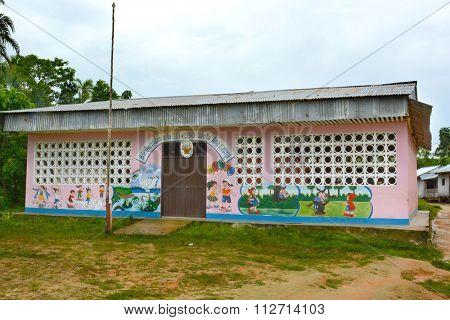 SANTA ANA VILLAGE, PERU - OCTOBER 16, 2015: Elementary school building. Many villages in the Amazon region of Peru have their own schools.