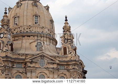 Frauenkirche In Dresden, Germany, With Hot Air Balloon
