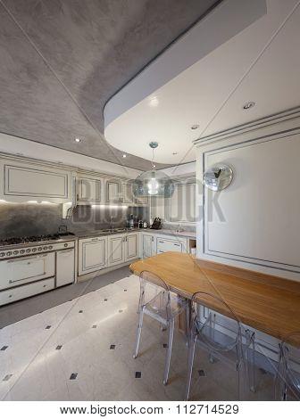 Architecture; domestic kitchen bright in classic style