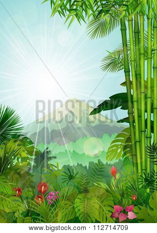 Mountains landscape of tropical background with sunrays