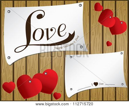 Valentine's Day on vector wooden background. Vector heart in white paper on brown wood floor texture