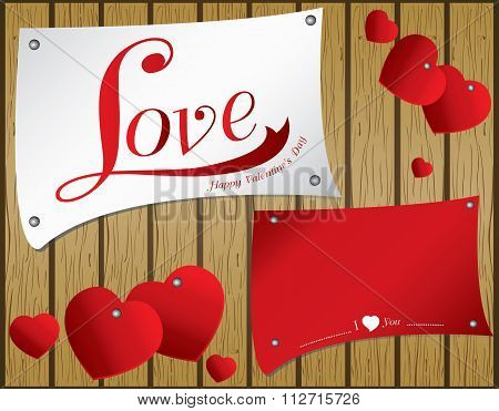 Valentine's Day on vector wooden background. Vector heart in colorful paper on brown wood floor text