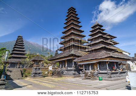 Wooden Pagoda Roofs Of Pura Besakih Balinese  Temple