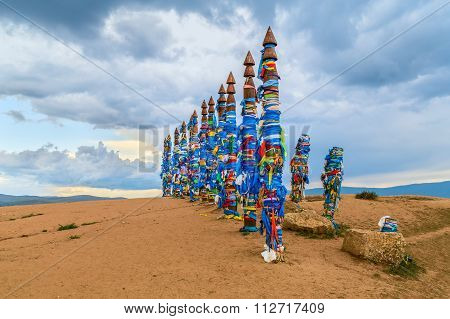 Pagan Buryat Pole Totems On Olkhon Island, Lake  Baikal