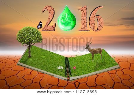 Open Notebook Nature In 2016 Text On Dry Ground And With Sky .