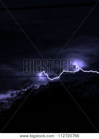 thunder and lightning on the night