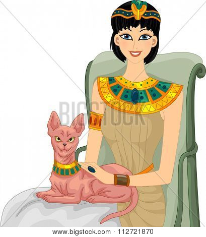 Illustration of an Egyptian Woman Petting Her Sphynx Cat