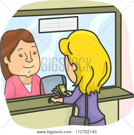 Illustration of a Woman at a Money Transfer Shop