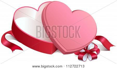 Pink gift open box in heart shape. Gift open box tied with bow