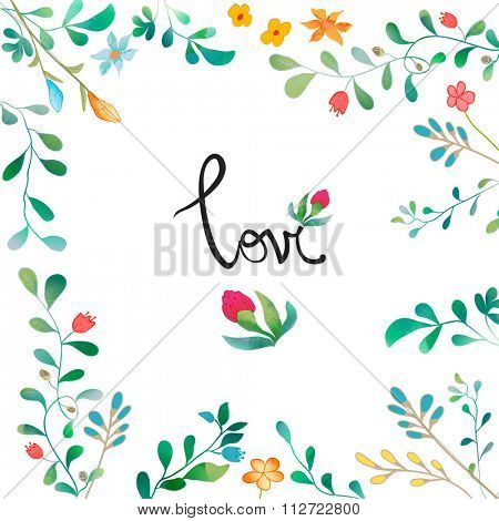 Vector Watercolor Floral background With Hand Painted Leaves. Watercolor Leaf Branch backdrop. Text Frame.  Template for wedding, valentine day, mothers day, birthday, invitations.