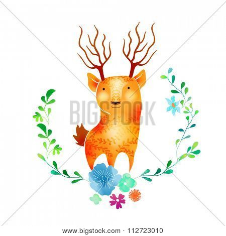 Vector Watercolor Floral background With Hand Painted deer. Watercolor valentine card. Text Frame.  Template for wedding, valentine day, mothers day, birthday, invitations.