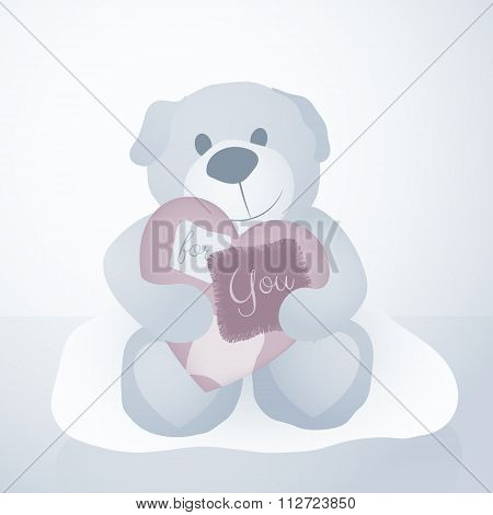A Sweet Illustration For Valentine's Day With Teddy Bear And Textil Love Letter Heart, Vector