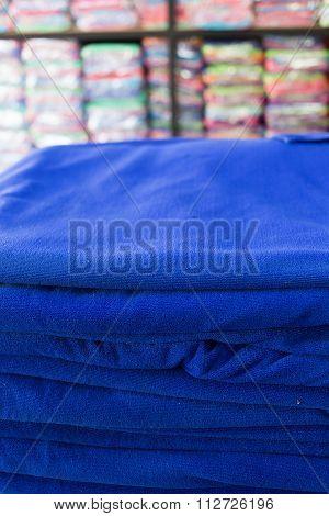 Blue Towel Softness Fluffy Fiber Fabric Of Textile Fabric Industrial
