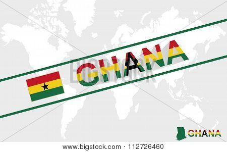 Ghana Map Flag And Text Illustration