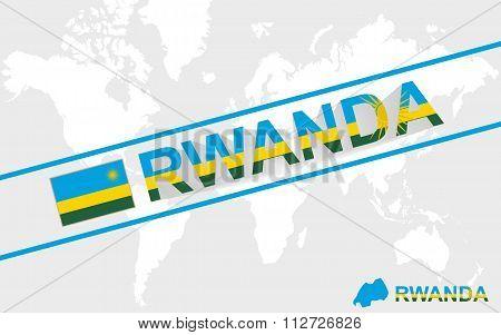 Rwanda Map Flag And Text Illustration