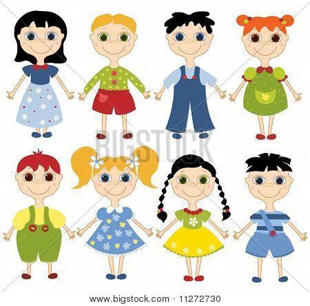 Cartoon children set.