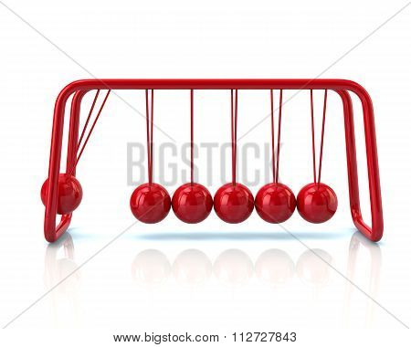 Illustration Of Red Newton's Cradle