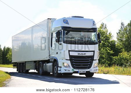 New Daf XF Semi Truck On The Road In Summer
