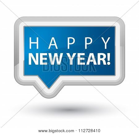 Happy New Year Blue Banner Button