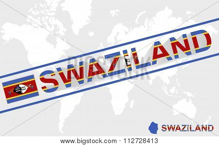 Swaziland Map Flag And Text Illustration