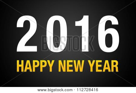 2016 Happy New Year Black Background