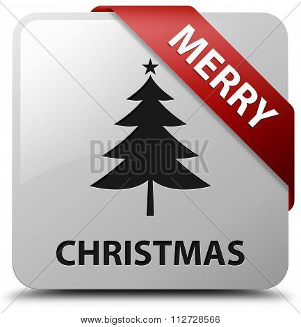 Merry Christmas Red Ribbon White Square Button
