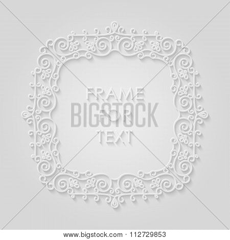 Frame In Trendy Outline Style, Relief Effect