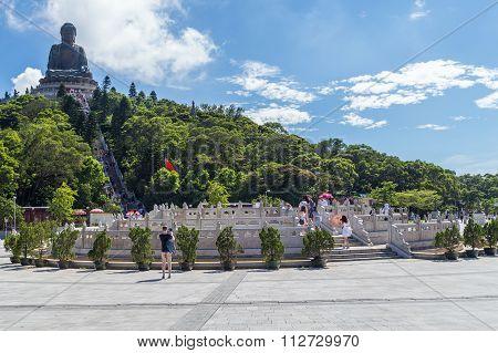Hong Kong, China - Circa September 2015: Tian Tan Big Buddha At Po Lin Monastery On Lantau Island, H
