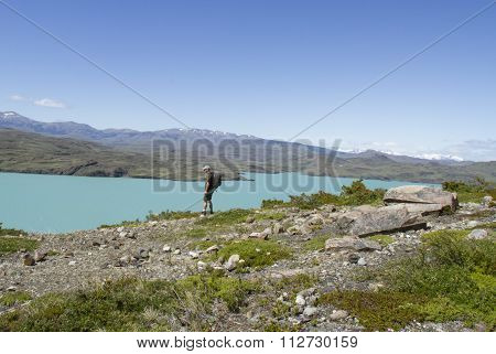 Hiker In Torres Del Paine, Chile