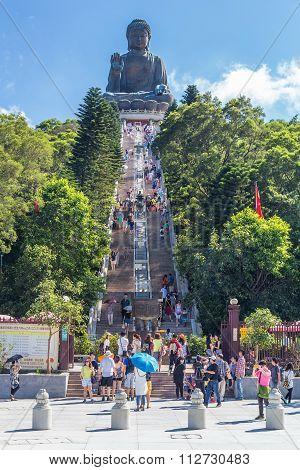 Hong Kong, China - Circa September 2015: Stairs To Tian Tan Big Buddha At Po Lin Monastery On Lantau
