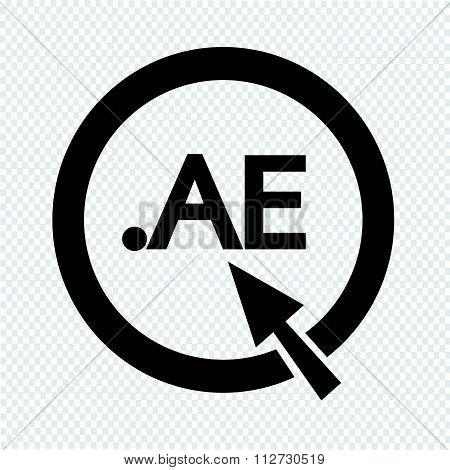 United Arab Emirates Domain Dot Ae Sign Icon Illustration
