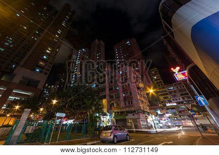 Hong Kong, China - Circa September 2015: Streets Of Hong Kong Kowloon District By   Night