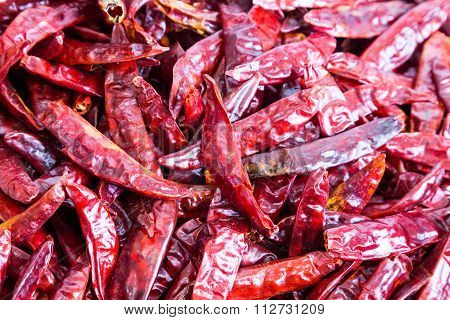 Closeup On Heaps Of Freshly Dried Spicy Chilli Pepper