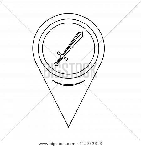 Map Pointer Sword Icon