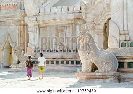 Lion Statue In Ancient Ananda Temple , Old Bagan, Myanmar.