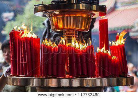 Taipei, Taiwan - Circa September 2015: Candles Burn In Longshan Buddhist Temple In Taipei City,   Ta