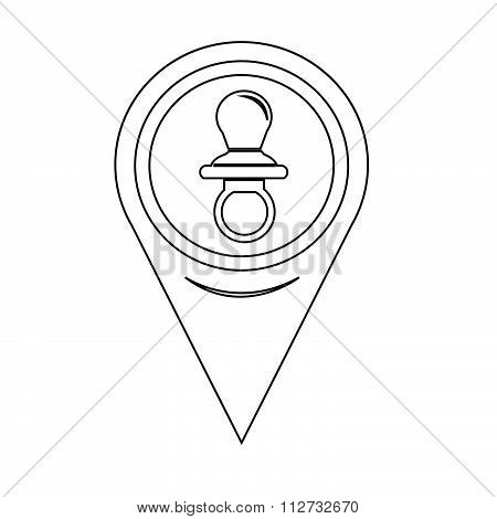 Map Pointer Baby Pacifier Icon
