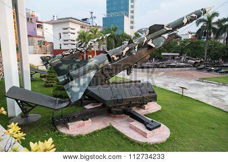 Hanoi, Vietnam - Circa September 2015: Anti-air Missiles In B-52 Victory Museum In Hanoi,  Vietnam