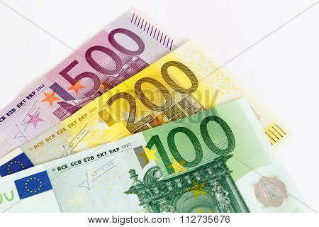 Fanned out euro banknotes