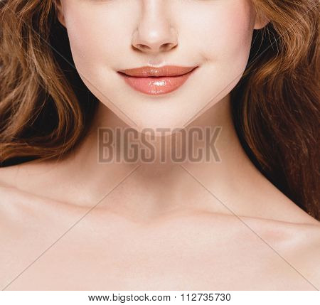Beautiful Woman Part Of The Face Nose Lips Chin And Shoulders Close Up Portrait Studio On White