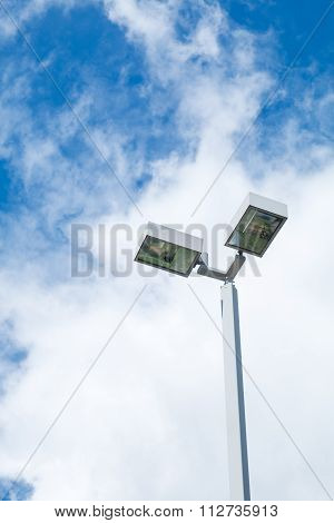 Double street light lamp and blue sky background